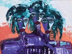 6.-Purple ladies   acrylic painting