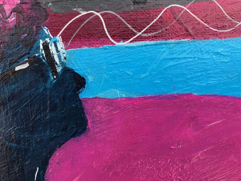 10 Woman on sofa   acrylic painting - Black Animal Painting by Ramon Poch