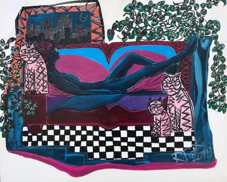 Ramon Poch Animal Painting - 10 Woman on sofa   acrylic painting
