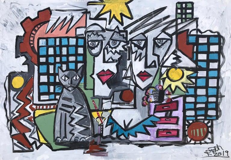 Ramon Poch Animal Painting - 15.-Couple with Cat  original acrylic painting