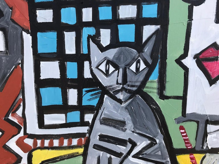 15.-Couple with Cat  original acrylic painting - Painting by Ramon Poch