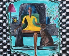 16.-Woman with Cat   acrylic painting