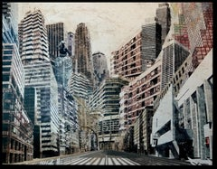 Urbania VII. acrylic and watercolor glued on canvas. painting