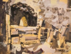"""Ruinas"", Duco and Tempera on Paper, Modern Filipino-Mexican Art, 1956"