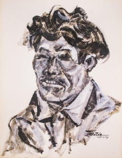 """""""One Mexican Face"""", Duco on Paper, Modern Filipino-Mexican Art, 1957"""
