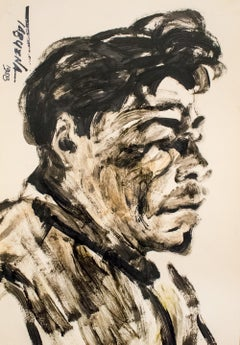 """Mexican Man"", Duco and Tempera on Paper, Modern Filipino-Mexican Art, 1958"