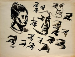 Estudio Rostro Niña, Ink on Paper, Modern Art, Mexico