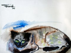 Gato, Modern Art, Watercolor on Paper, Mexico