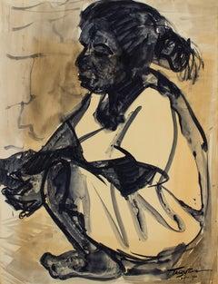 Niña Sentada, Ink on Paper, Modern Art, Mexico