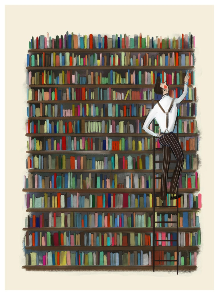 Tug Rice Figurative Print - The Bibliophile