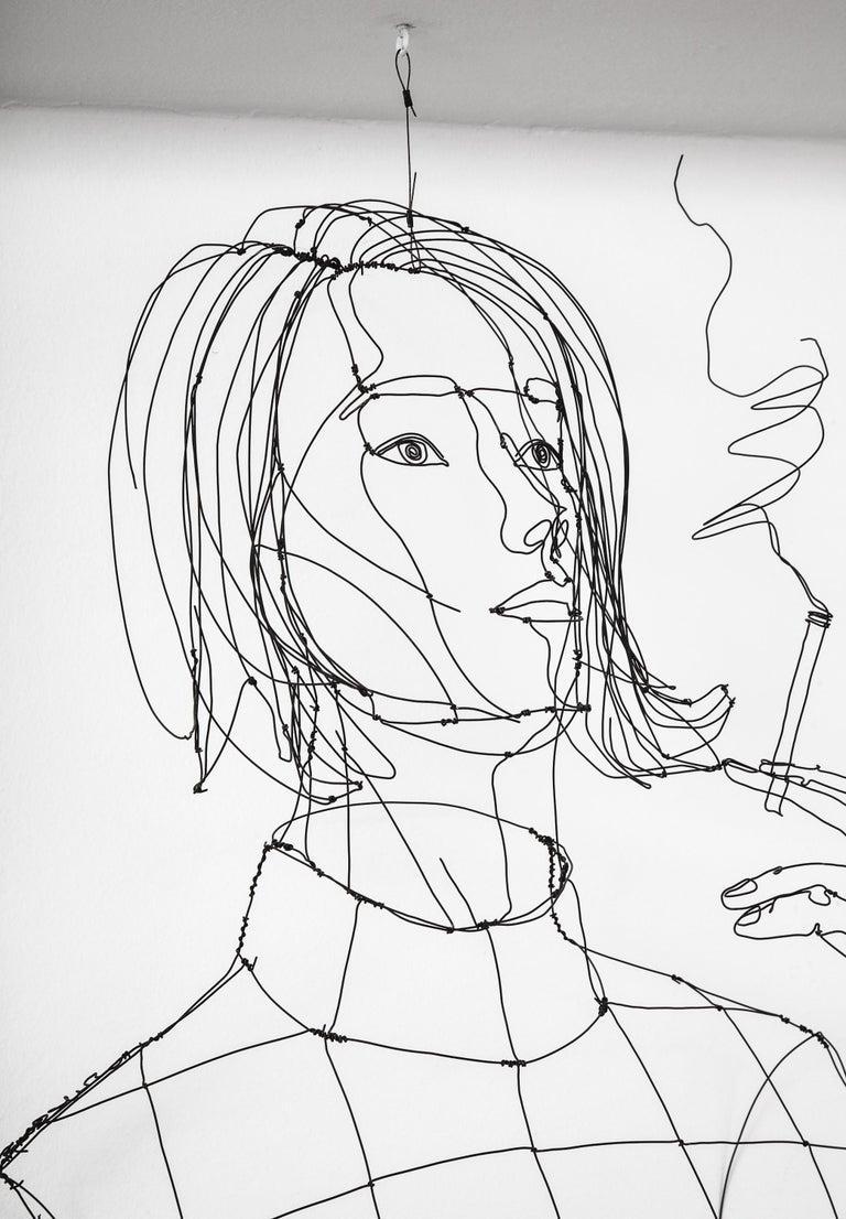 La Fumeuse Wire Sculpture For Sale 3