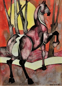 Horse with rising sun, 1989. By a leading figure in Northern contemporary art.
