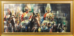 The Household Cavalry. Ceremonial duties on horseback. Abstract motion.