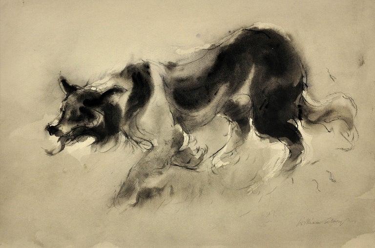 Sheepdog. Original Watercolor by Welsh Artist William Selwyn. Working Dog.  - Beige Animal Art by William Selwyn