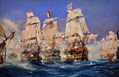 Battle of Trafalgar.Original Marine Painting by Charles Dixon 1905.Battle scene.