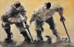 Bait Diggers.Original Watercolor.Welsh.Modern British.Mid-20th Century.Fishing.