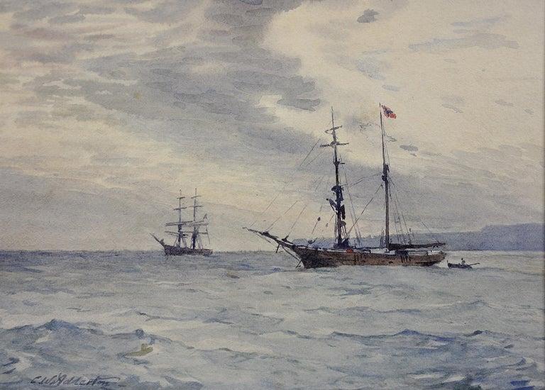 Charles William Adderton Landscape Art - Norwegian Barques at Anchor, Devon. Victorian.Marine Art. Original Watercolor.