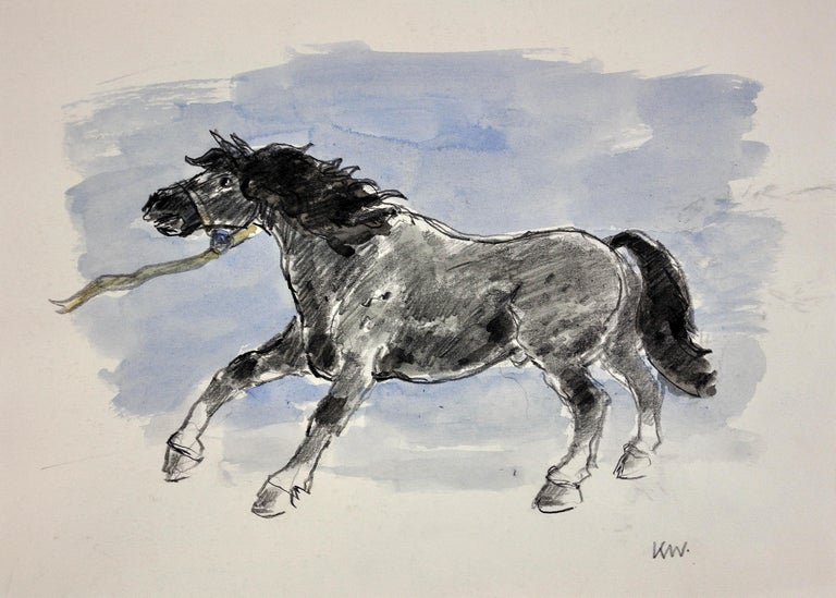 Sir Kyffin Williams Animal Art - Welsh Pony Refusing to be Lead.Original Watercolor.Modern British.Horse.Kyffin.