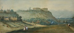 Prospect of Nottingham Castle from The Park. Original Watercolor. Victorian.