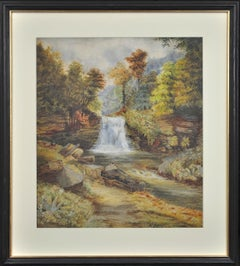 Waterfall in an Upland Landscape. Victorian. Watercolor. Mountain River. Stream.