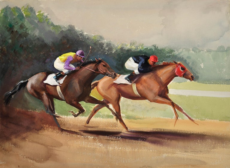 A Tight Finish. 1970.Race Horses. Final Furlong. Equine.Jockeys.Horse Racing. - Art by John Rattenbury Skeaping