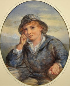 A Gentle Hand on the Tiller.1870.Sailor Boy.Oval Watercolor Portrait. Scottish.