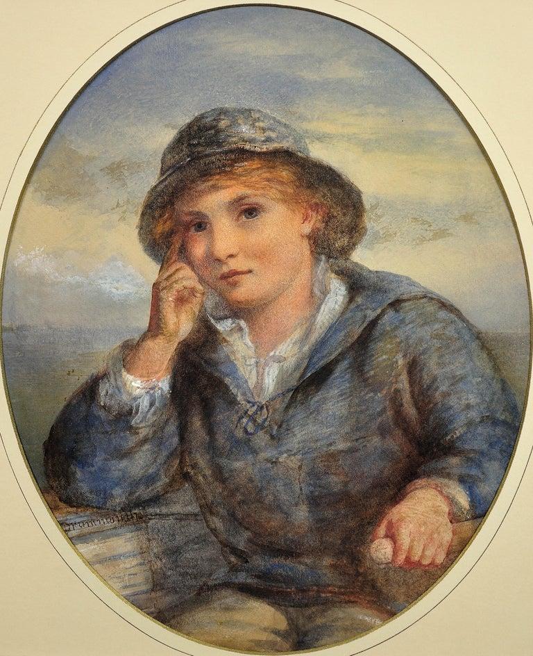 A Gentle Hand on the Tiller. 1870.Sailor Boy.Oval Watercolor Portrait. Scottish. - Victorian Art by James Drummond