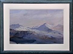 Night, Moelwyn Mawr and Moelwyn Bach. Snowdonia. Wales.Mountain Range.Watercolor
