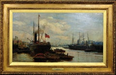The Upper Pool of London. River Thames. Maritime Marine Oil Painting. Wyllie.