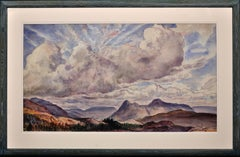 Autumn Skies across the Malvern Hills. Large Landscape Watercolor.Modern British