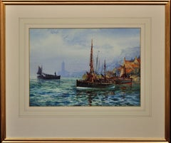 Visiting Fife Fishing Boat in Whitby Harbour. Yorkshire. Marine Watercolor.