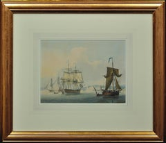 Frigates in a Calm off Dover. King George III Watercolor. Royal Navy Lieutenant.