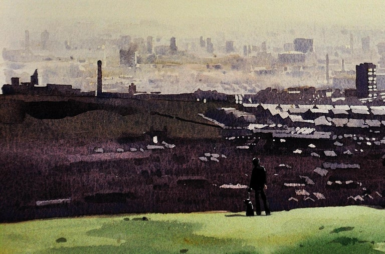 Oldham from the surrounding hills. Original framed watercolour dated 1984. For Sale 3