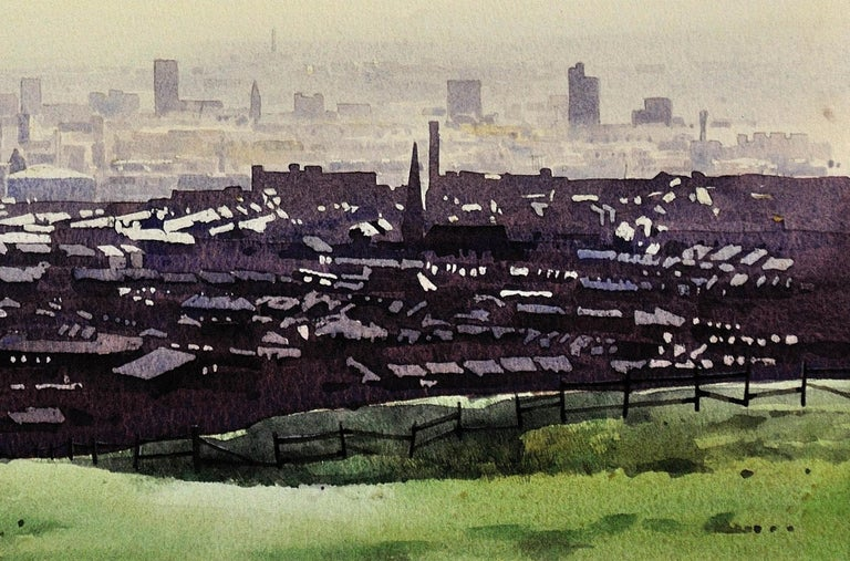 Oldham from the surrounding hills. Original framed watercolour dated 1984. For Sale 4