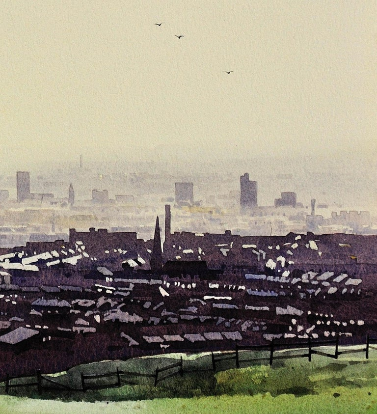 Oldham from the surrounding hills. Original framed watercolour dated 1984. For Sale 5