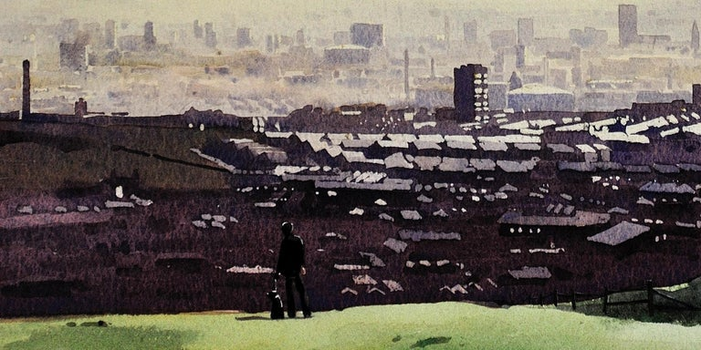 Oldham from the surrounding hills. Original framed watercolour dated 1984. For Sale 6
