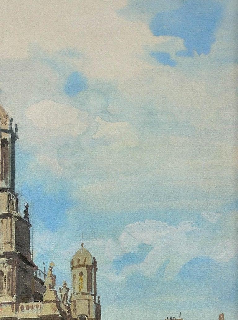 L' Église de la Sainte-Trinité, Place de la Trinité, Paris. Original watercolor. For Sale 2
