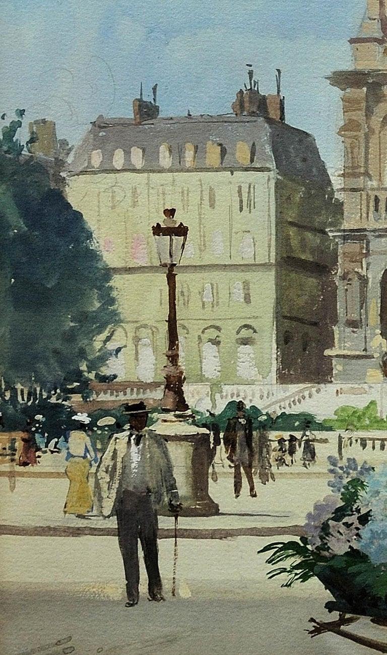 L' Église de la Sainte-Trinité, Place de la Trinité, Paris. Original watercolor. For Sale 6