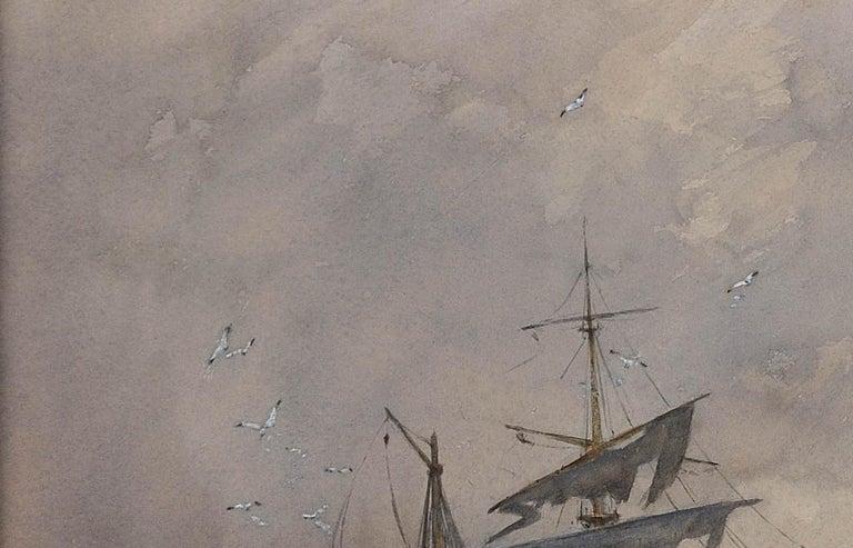 After a winter gale, Leven Sands, Fife, Scotland.Original watercolour circa 1890 For Sale 2