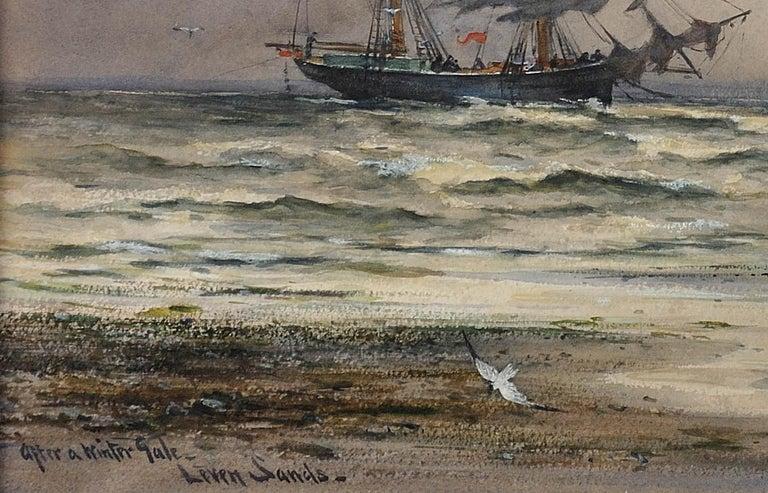 After a winter gale, Leven Sands, Fife, Scotland.Original watercolour circa 1890 For Sale 4