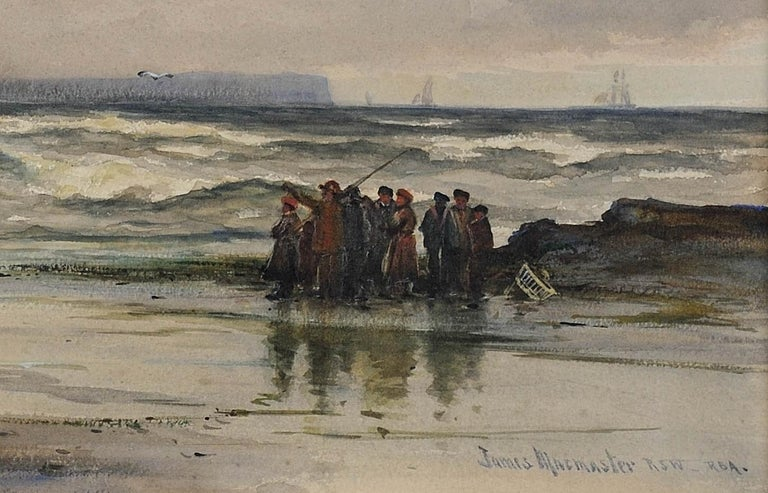 After a winter gale, Leven Sands, Fife, Scotland.Original watercolour circa 1890 For Sale 5
