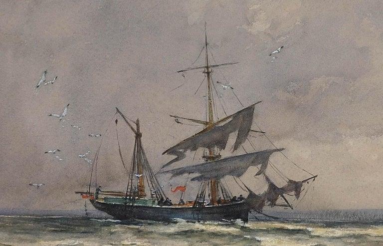 After a winter gale, Leven Sands, Fife, Scotland.Original watercolour circa 1890 For Sale 6