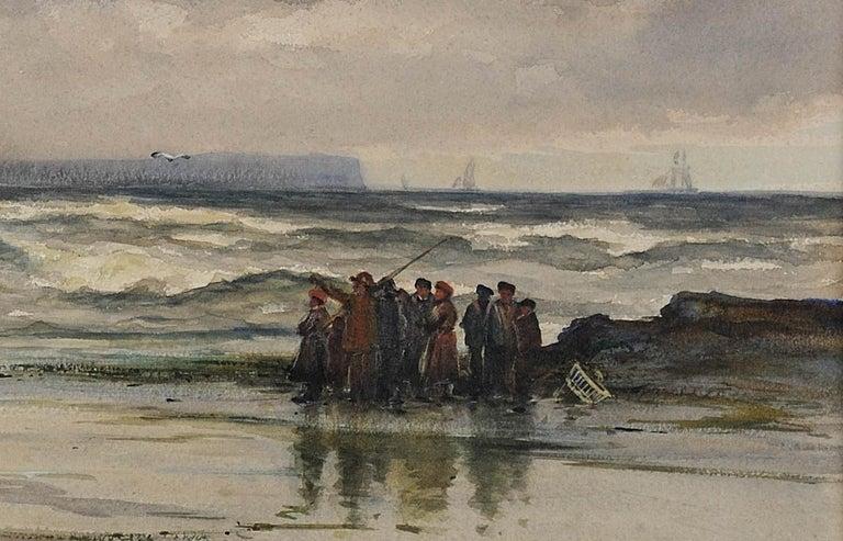 After a winter gale, Leven Sands, Fife, Scotland.Original watercolour circa 1890 For Sale 7