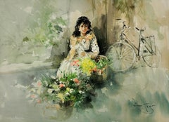 Christina. Original Gordon King Watercolor. Lady Flower Seller. Bicycle. Beauty.
