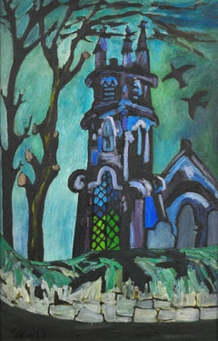 Church and Churchyard - Landscape Painting, Mid-20th Century, Oil Paint, Modern