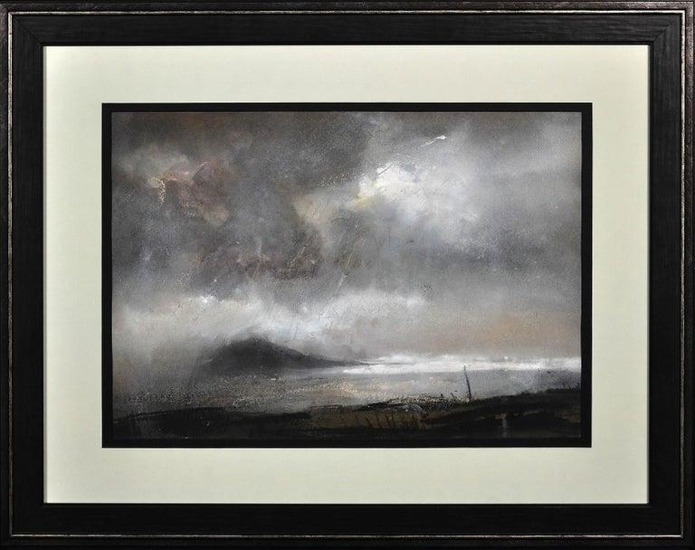Swnt Enlli – Bardsey Sound, Wales. Original Landscape Watercolor. Welsh Artist. - Gray Landscape Art by William Selwyn