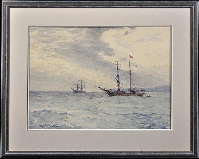 Norwegian Barques at Anchor, Devon. Victorian.Marine Art. Original Watercolor. - Gray Landscape Art by Charles William Adderton