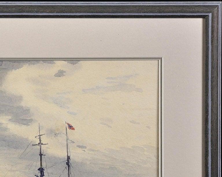 Norwegian Barques at Anchor, Devon. Victorian.Marine Art. Original Watercolor. For Sale 2