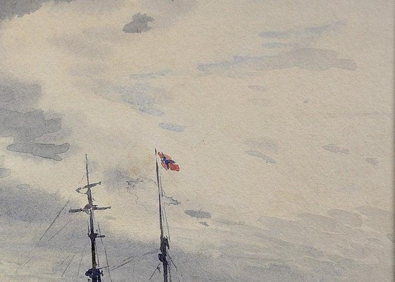 Norwegian Barques at Anchor, Devon. Victorian.Marine Art. Original Watercolor. For Sale 4