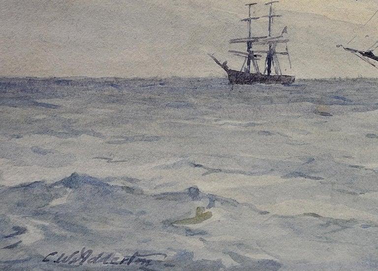 Norwegian Barques at Anchor, Devon. Victorian.Marine Art. Original Watercolor. For Sale 5